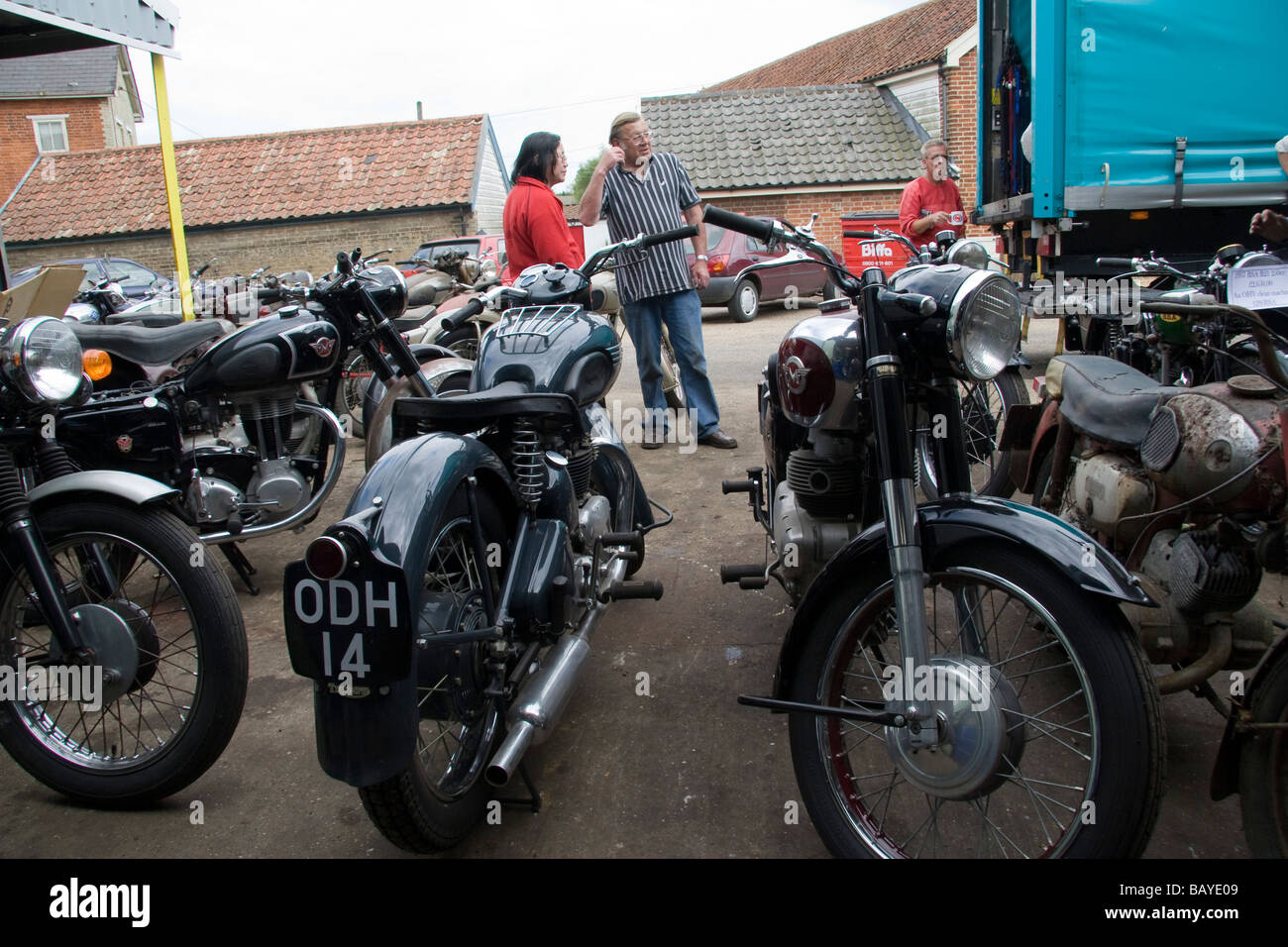 Classic and vintage motorbikes arriving at a dealer Stock Photo ...