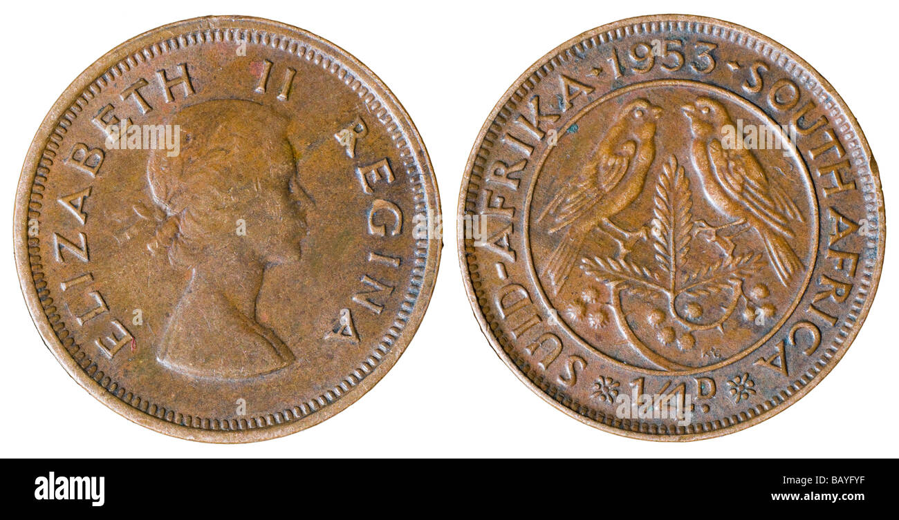 South African Elizabeth I farthing from 1953 - Stock Image