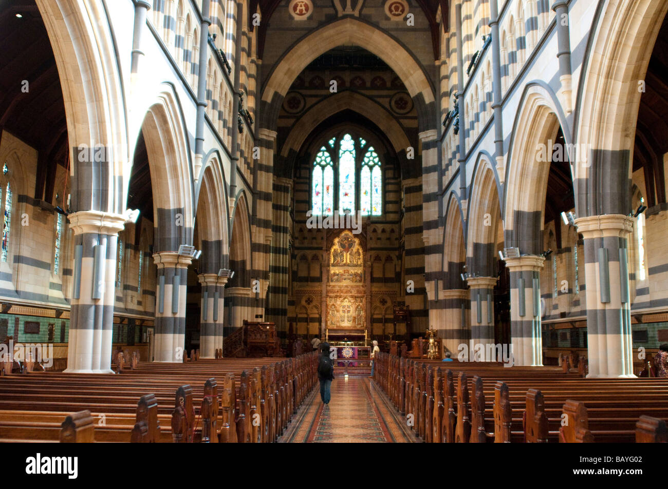 Interior Of St Pauls Cathedral Built In 1880s Gothic Revival Style Melbourne Victoria Australia