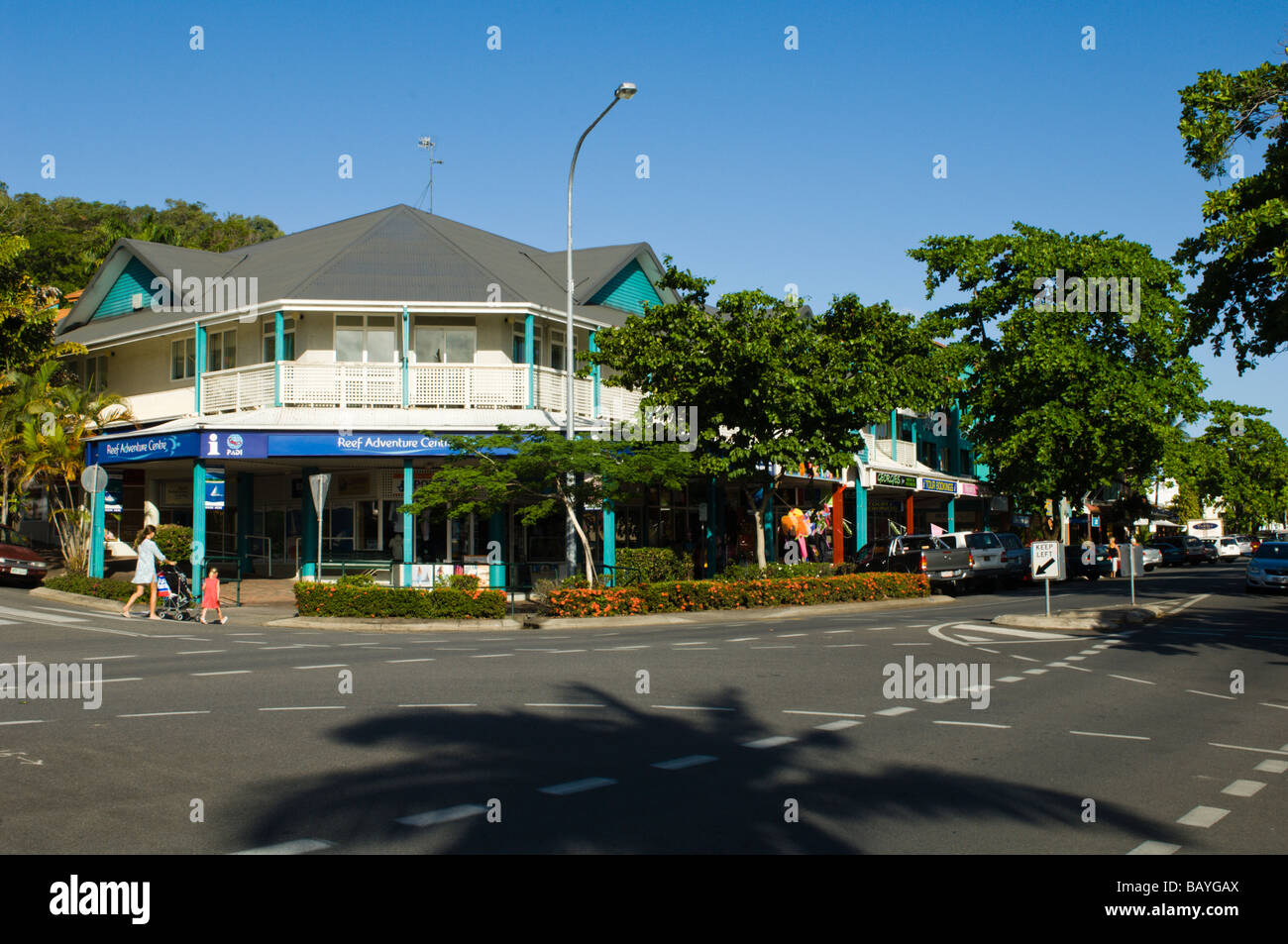 Shops in the High Street at Port Douglas - Stock Image