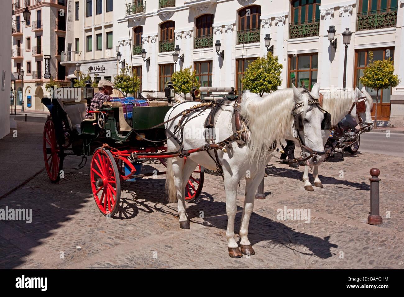 Horse and wagon Ronda, Spain - Stock Image