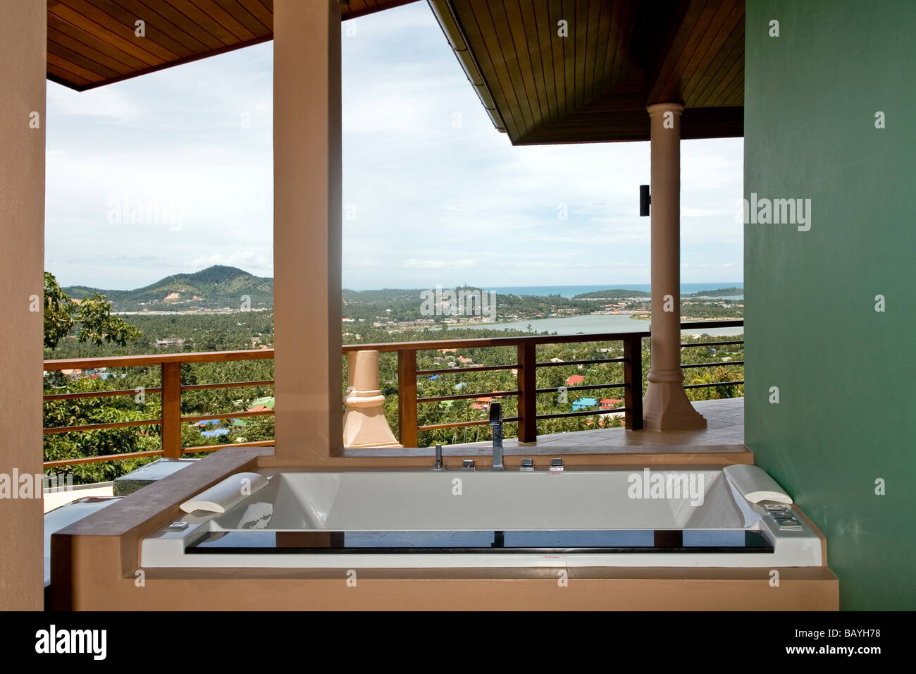 Open air home Jacuzzi on a terrace with magnificent panoramic views ...