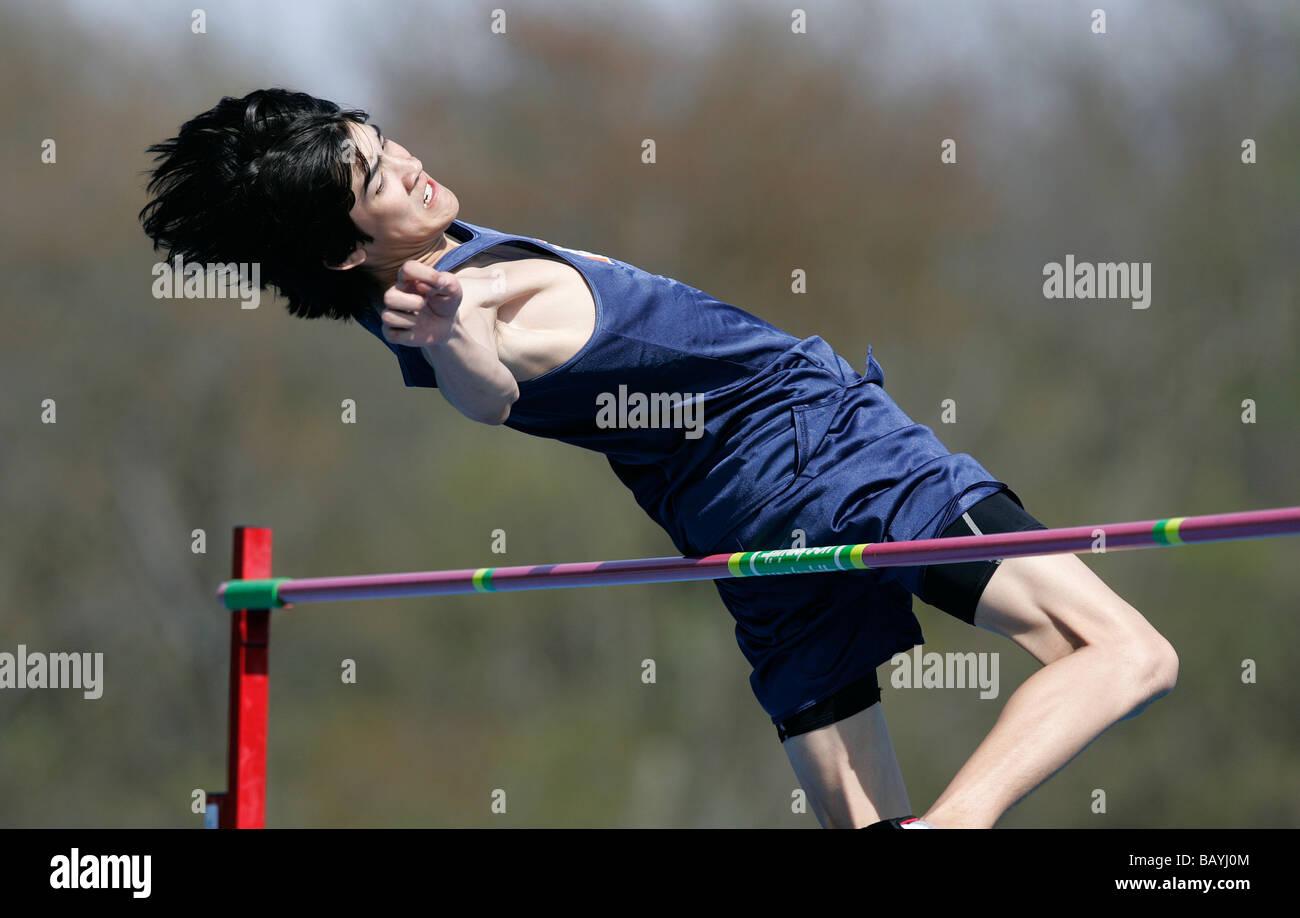 track meet high school sports high jump - Stock Image