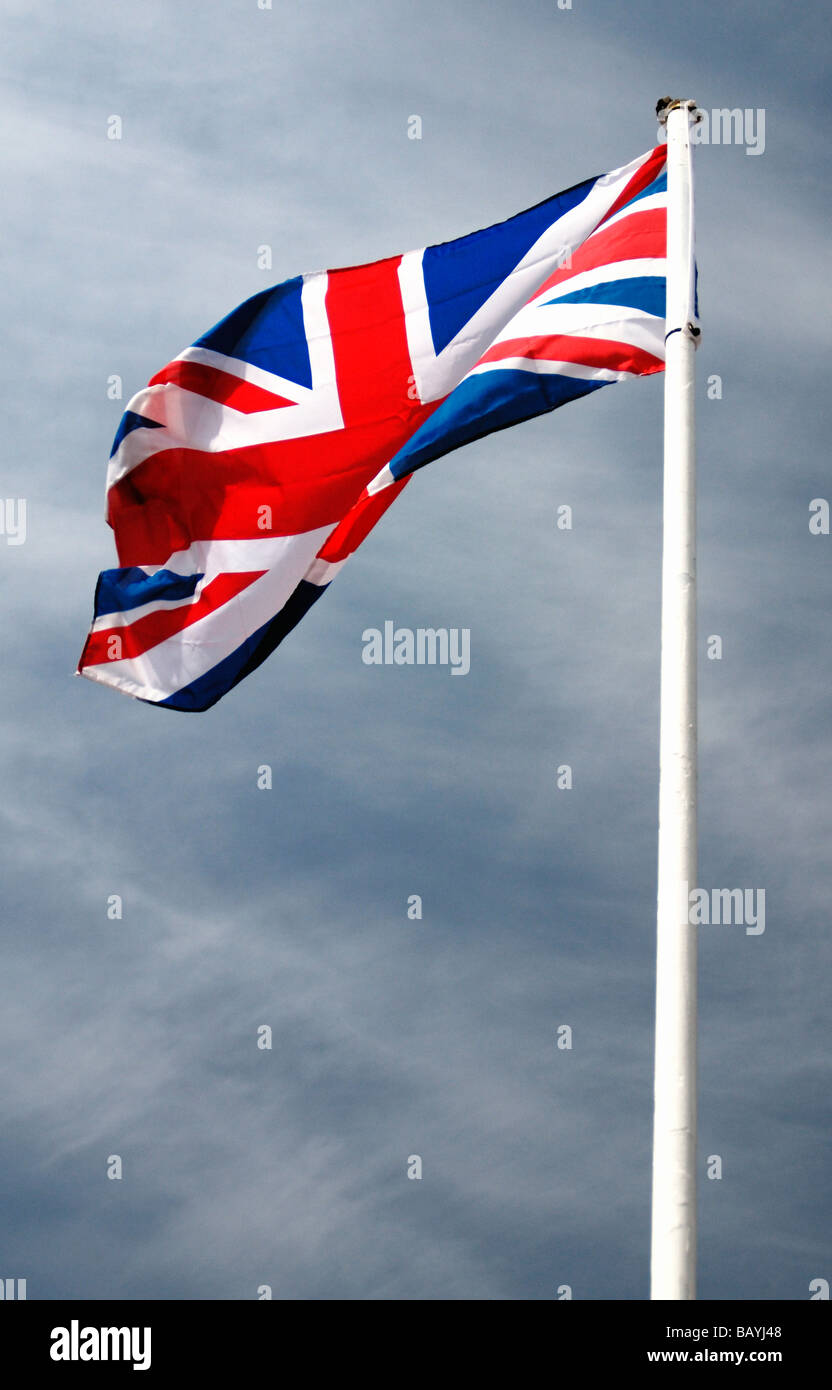 UK [Union Jack] flag in the wind - Stock Image