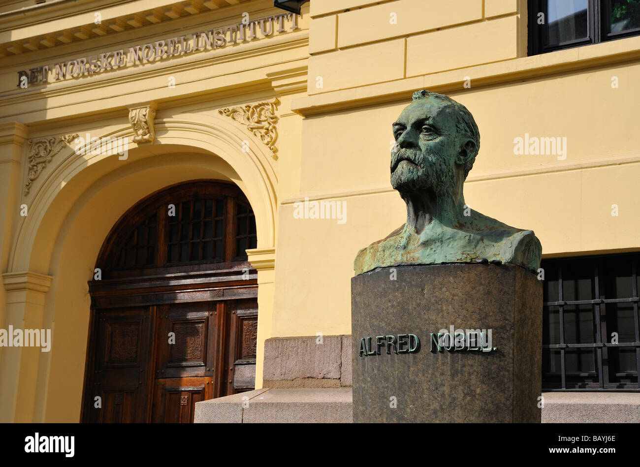 Bust of Alfred Nobel at the Nobel Prize Institute in Oslo, Norway. - Stock Image
