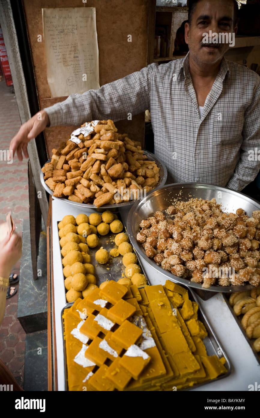 Indian sweets for sale in Shimla, Himachal Pradesh. India. - Stock Image
