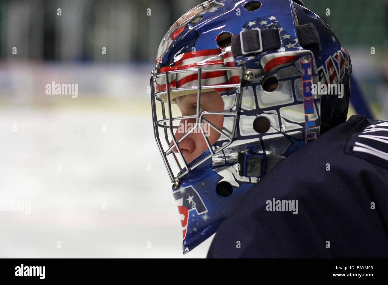 Close-up photo of US goalkeeper Brandon Maxwell playing for team USA in a U18 tournament - Stock Image