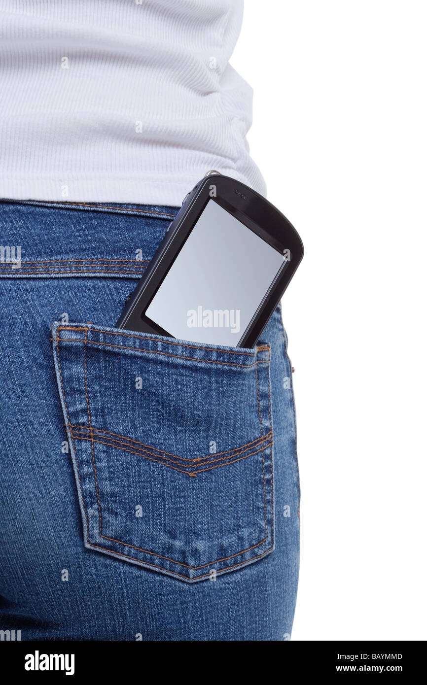 Blank PDA in back pocket of womans jeans - Stock Image