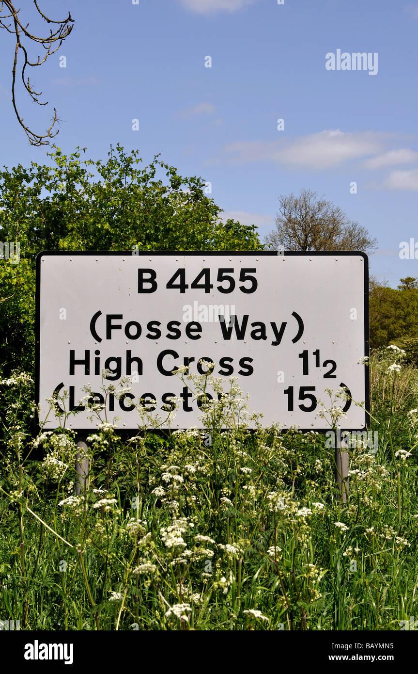 Road sign on Fosse Way, Warwickshire, England, UK - Stock Image