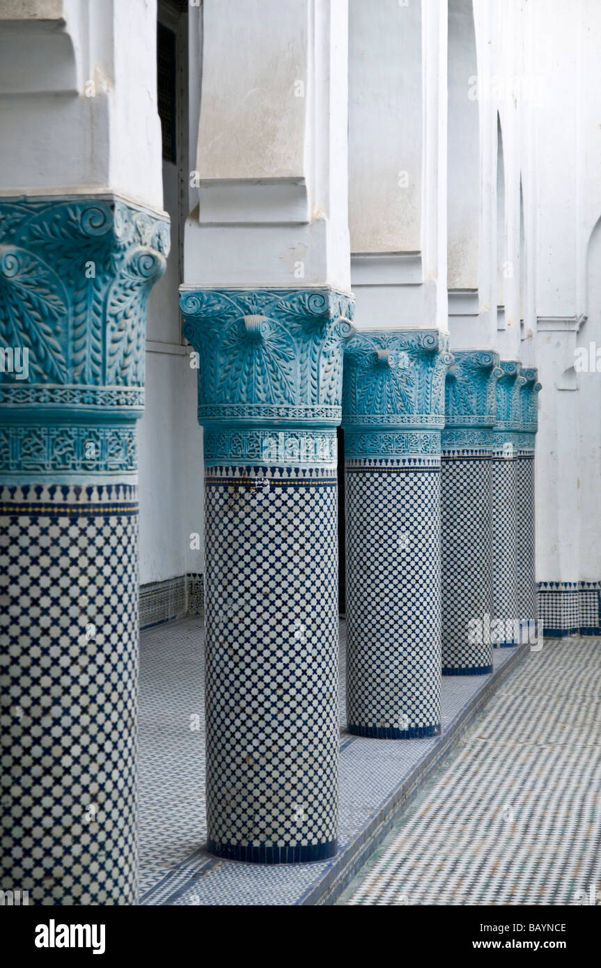 Beautiful mosaic pillars in the courtyard at Riad Mokri - now a music school. - Stock Image