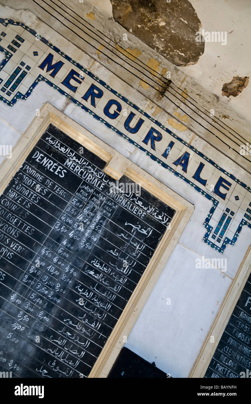 Mercuriale - official price list - of vegetables for sale at the Marché Municipal - Town Market. New Town, - Stock Image