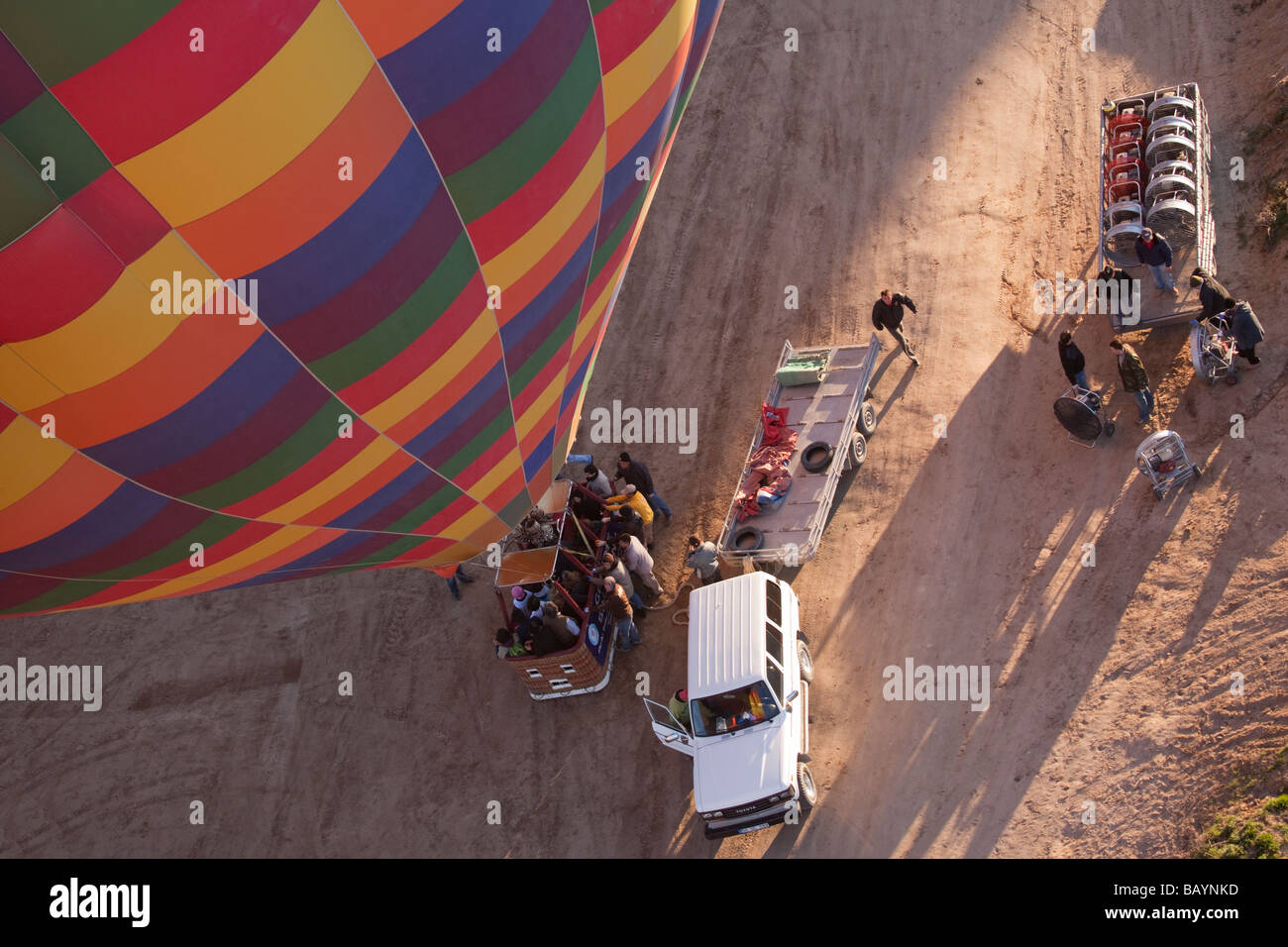 Crew preparing hot air balloon for flight over Cappadocia Turkey Stock Photo
