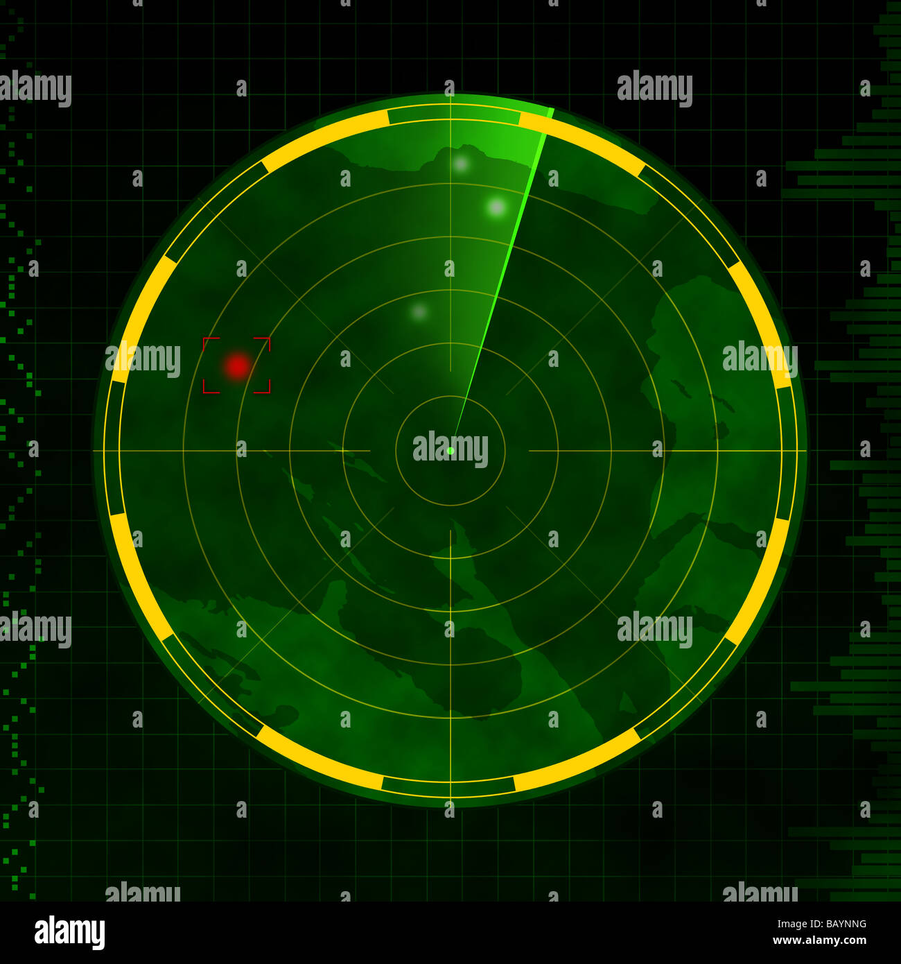 Radar with red target blip and green sweeping arm. - Stock Image