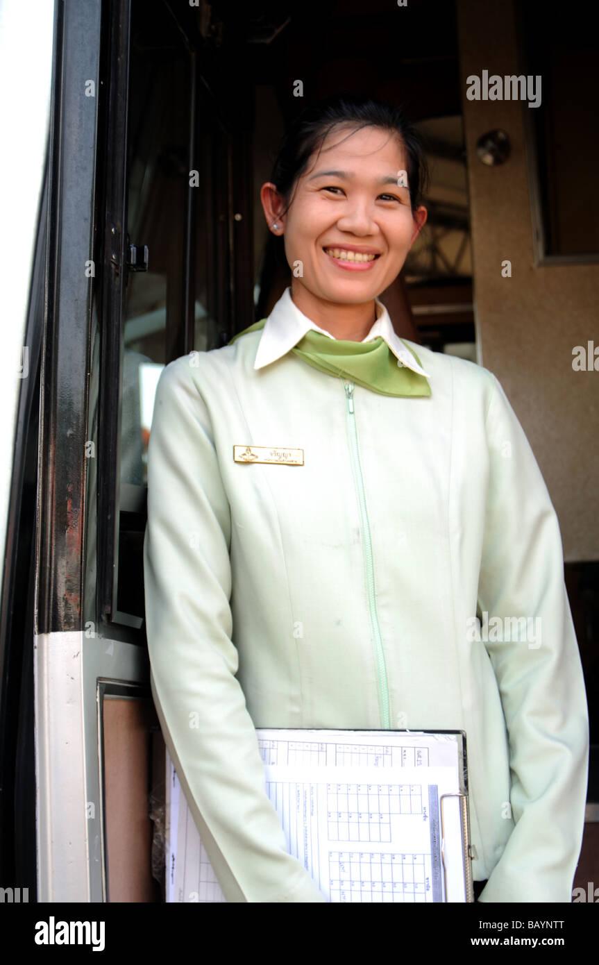 bus conductor nan nan province thailand - Stock Image