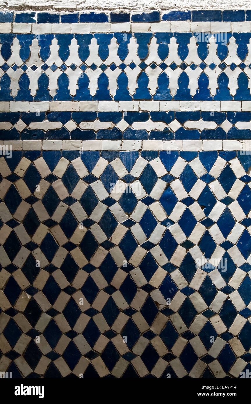 Wall of beautiful blue and white coloured Moroccan, mosaic, Zellige ...