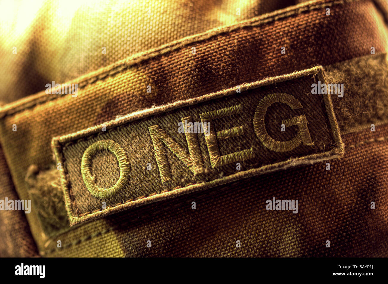 Blood type velcro patch on army uniform - Stock Image