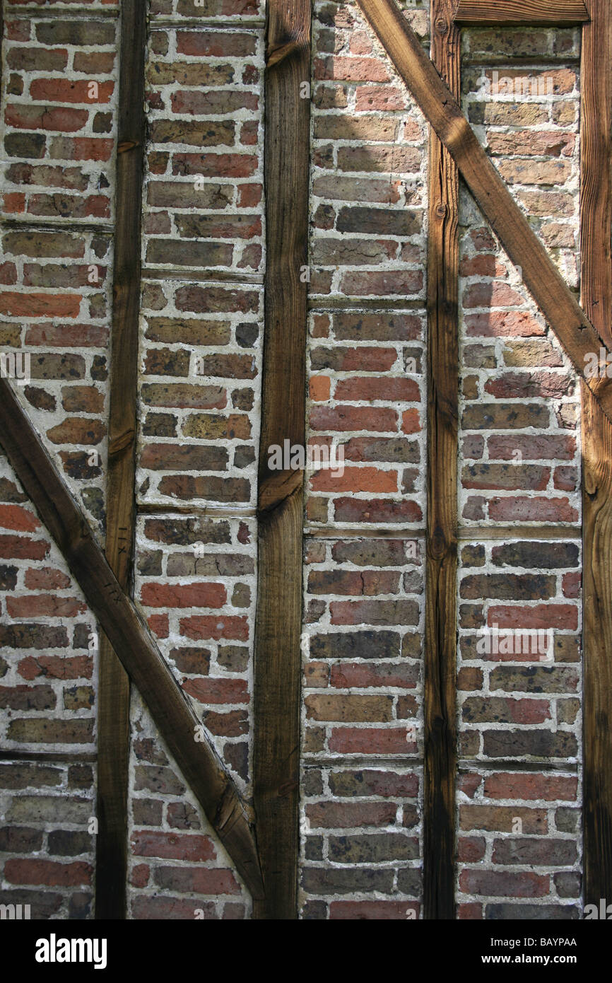Close up of the exterior wall of Queen Charlotte's cottage in Kew Gardens built in 1772 as a summer house - Stock Image