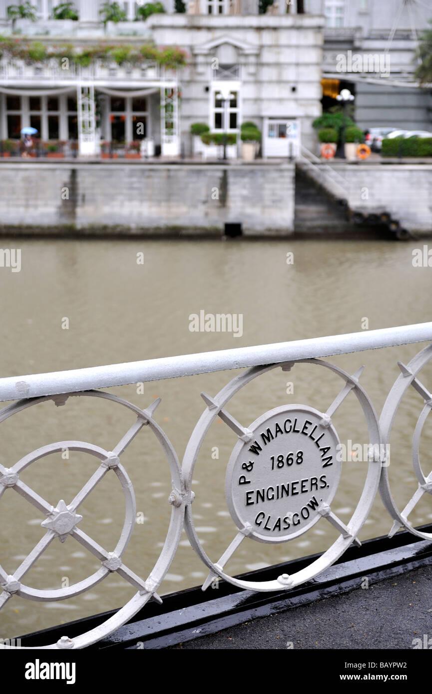 Builder's plaque, Cavenagh Bridge, Singapore - Stock Image