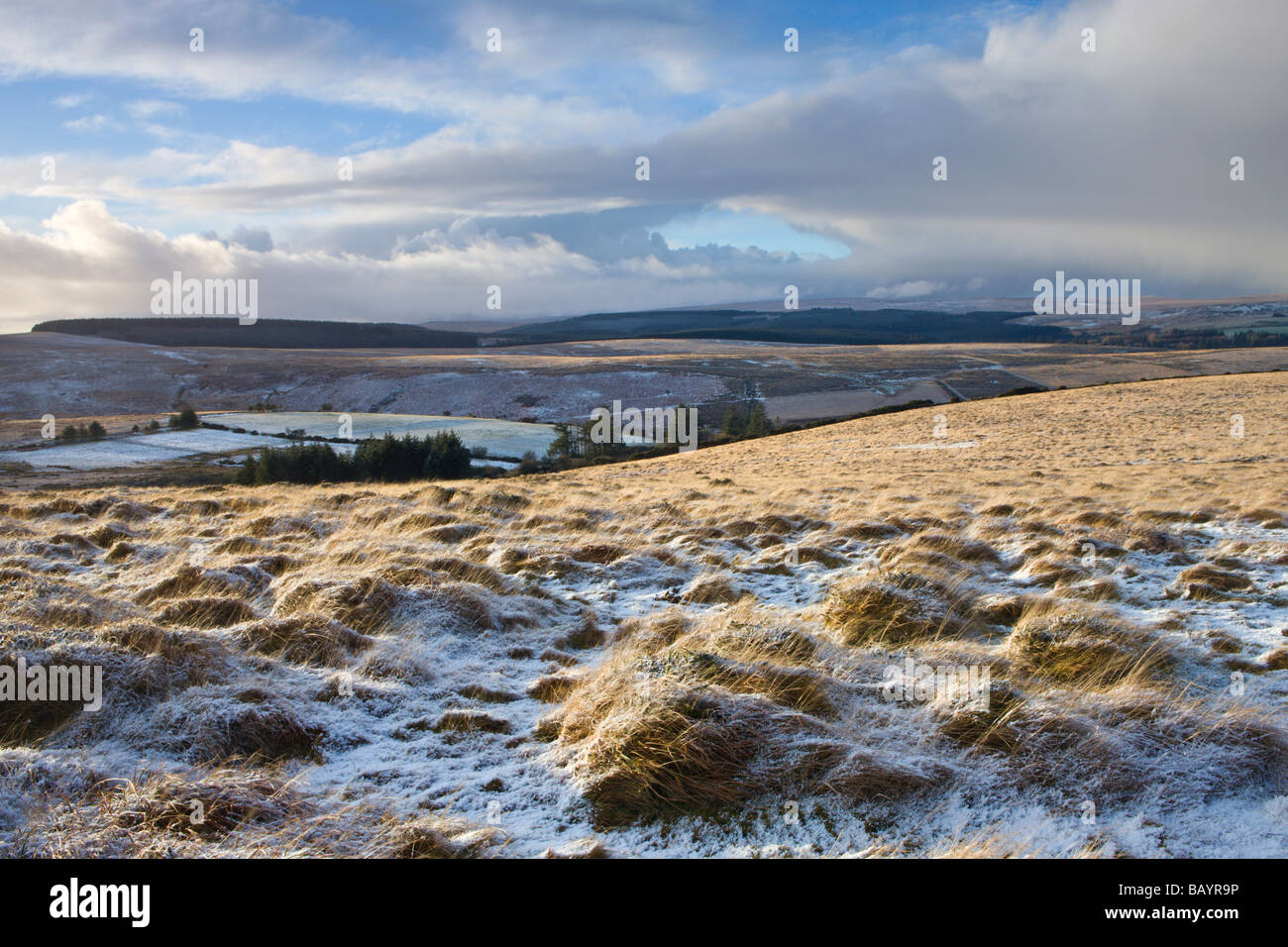 Snow dusted landscape near Chagford Common Dartmoor National Park Devon England January 2009 - Stock Image
