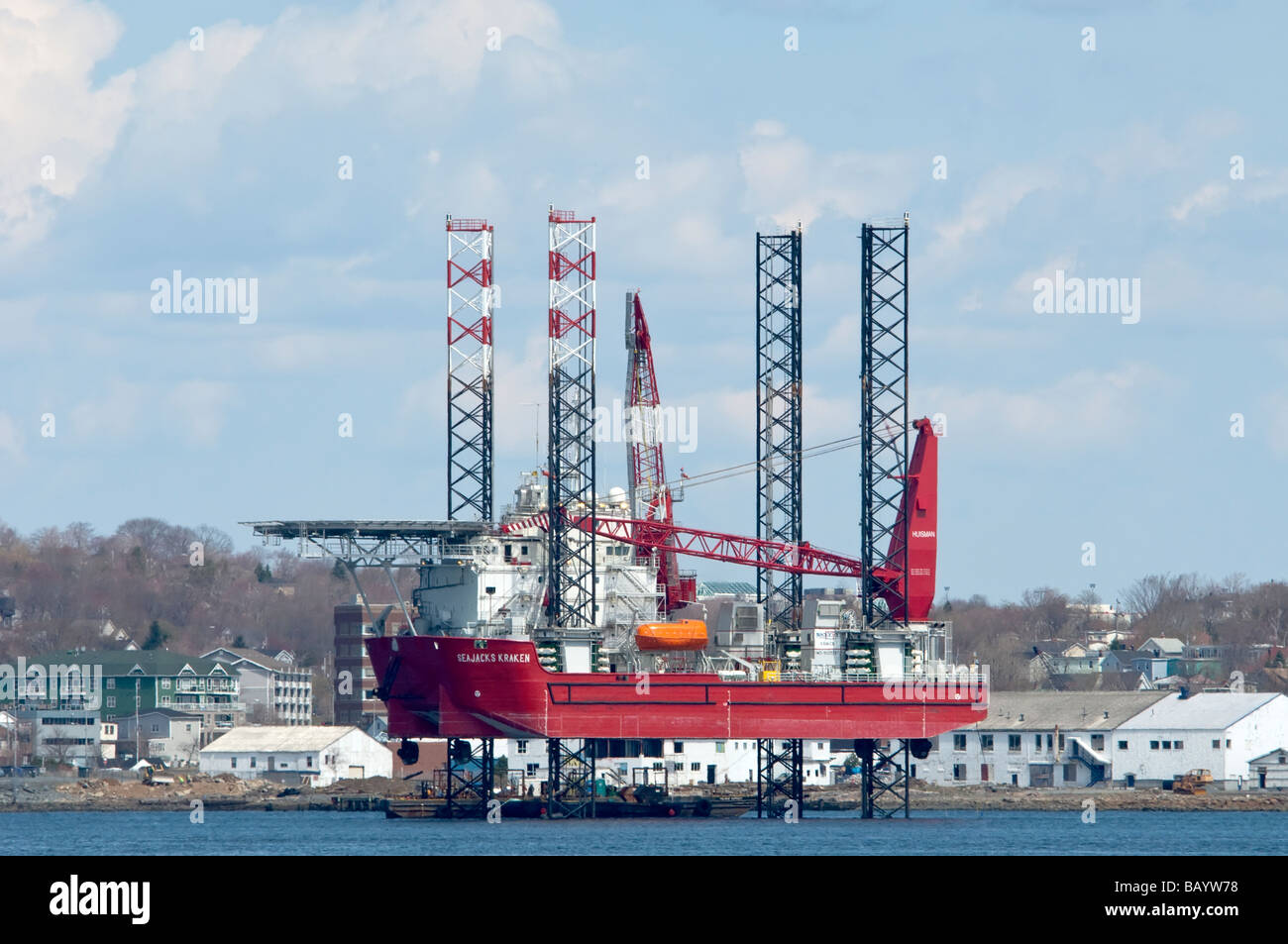 Self Propelled liftboat in Halifax Harbour - Stock Image