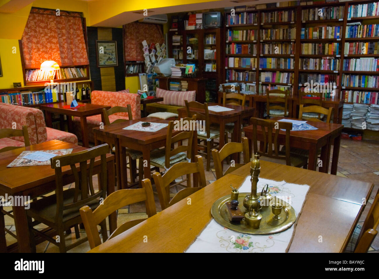 Bookshop and cafe in Blloku district of Tirana Albania Europe - Stock Image
