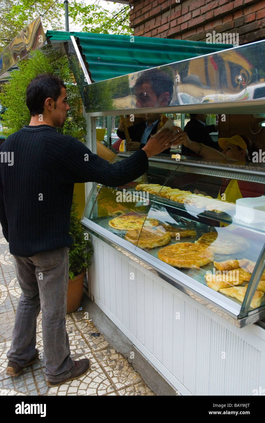 Kiosk selling pies and bureks in Blloku district of Tirana Albania Europe - Stock Image