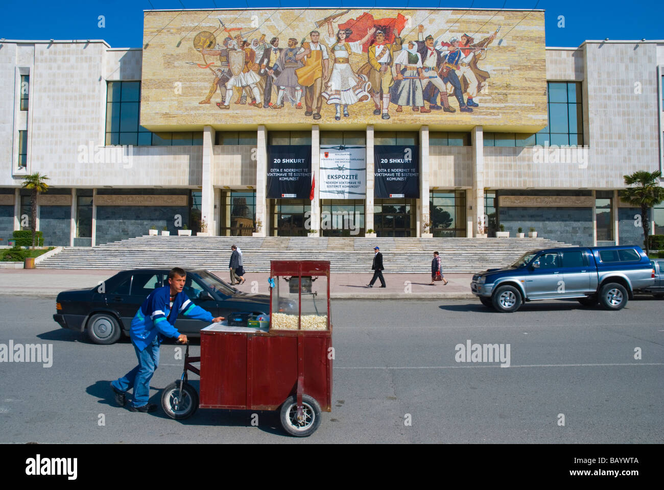 Traffic in front of National Museum of history in central Tirana Albania Europe - Stock Image