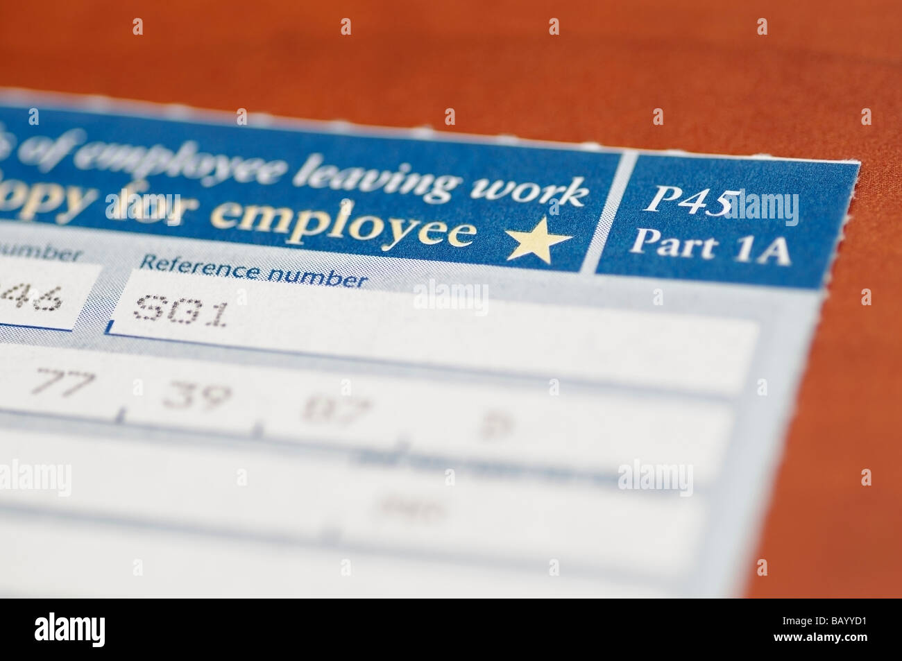 P45 Certificate Issued by HM Revenue and Customs When an Employee Leaves a Job or is Made Redundant - Stock Image