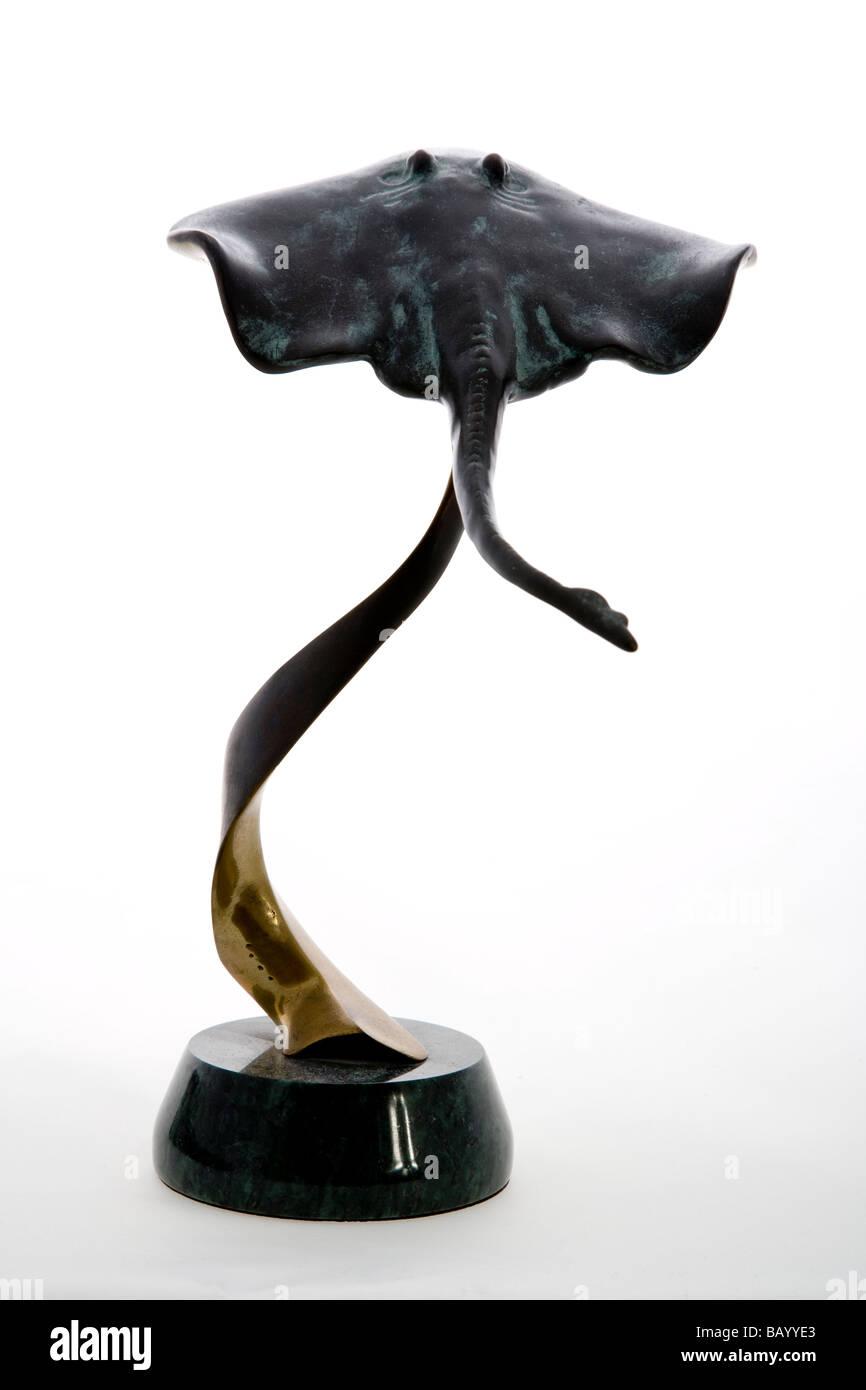 Bronze Stingray. Ornament  Metal Plain Background; - Stock Image