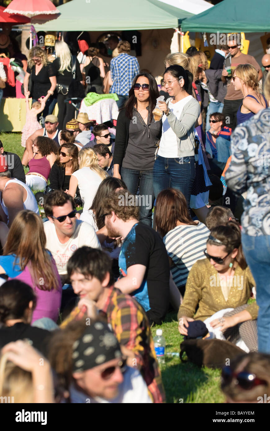 Community festivals, popular with young people, are held in city suburbs around Australia. Multicultural crowd; - Stock Image