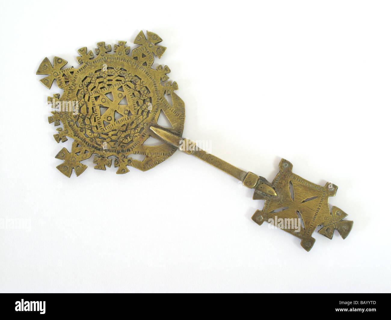 Antique Ethiopian brass cross - Stock Image