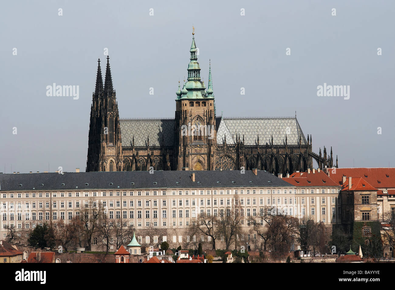 Hradcany - Cathedral of Saint Vitus in the Prague castle, the coronation cathedral of the Bohemian sovereigns - Stock Image