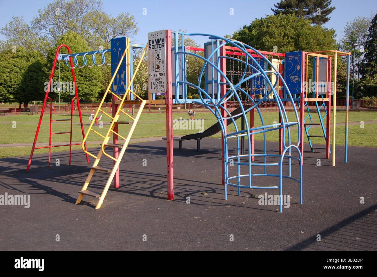 Climbing frames and slides at children\'s play ground in Roe Green ...