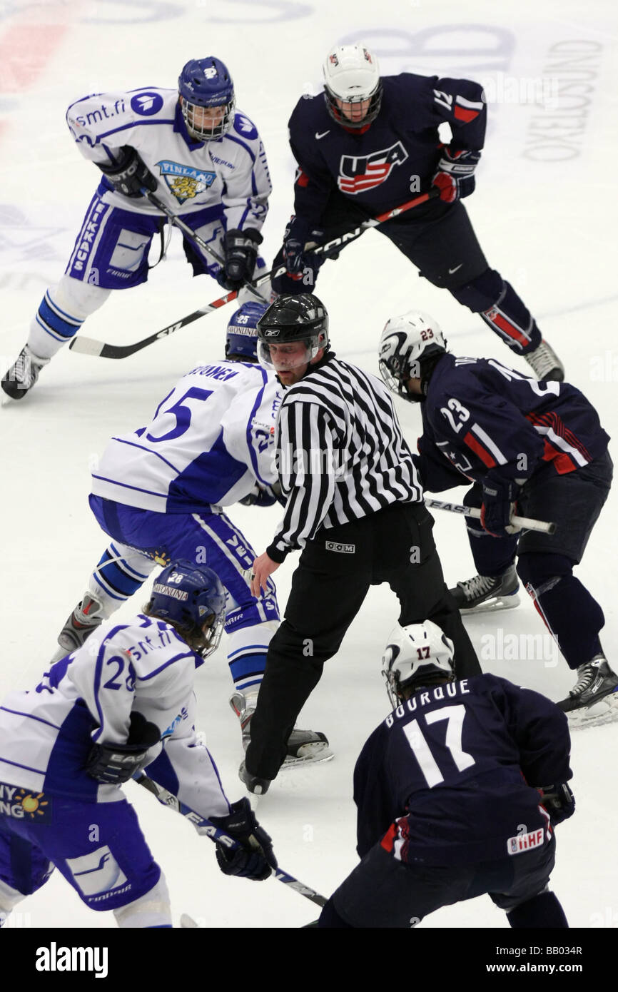 Face Off Between Usa And Finland In A U18 Ice Hockey Tournament