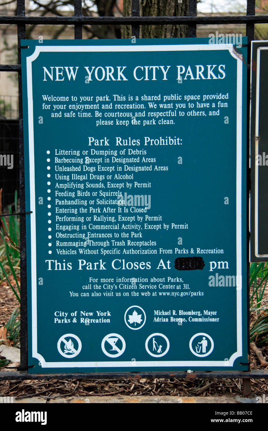 A generic New York City Parks notice board laying out the