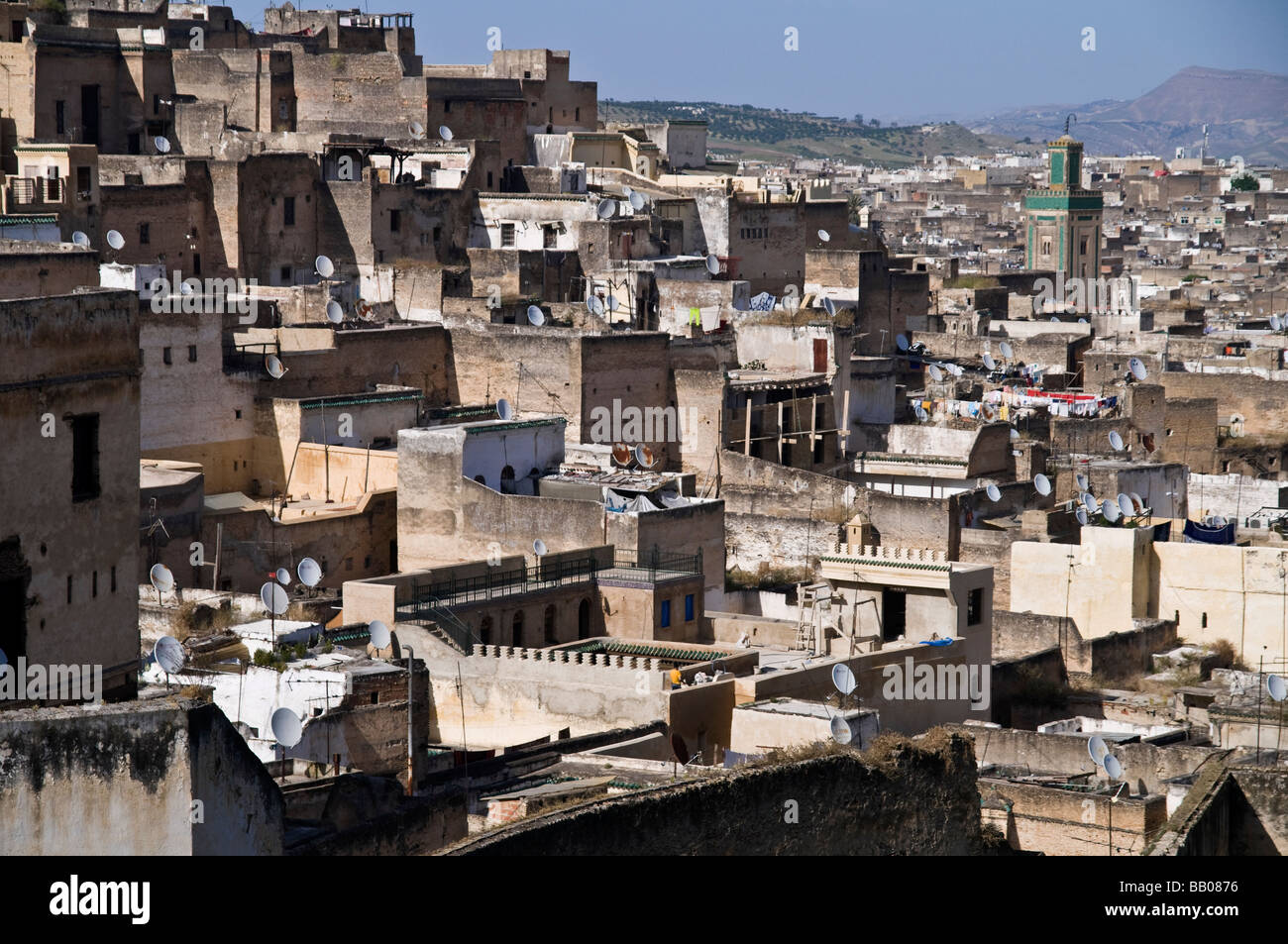 Stunning view over the rooftops of Fes medina from Riad Mokri - now a music school. Showing derbs, riads, and Kairaouine - Stock Image