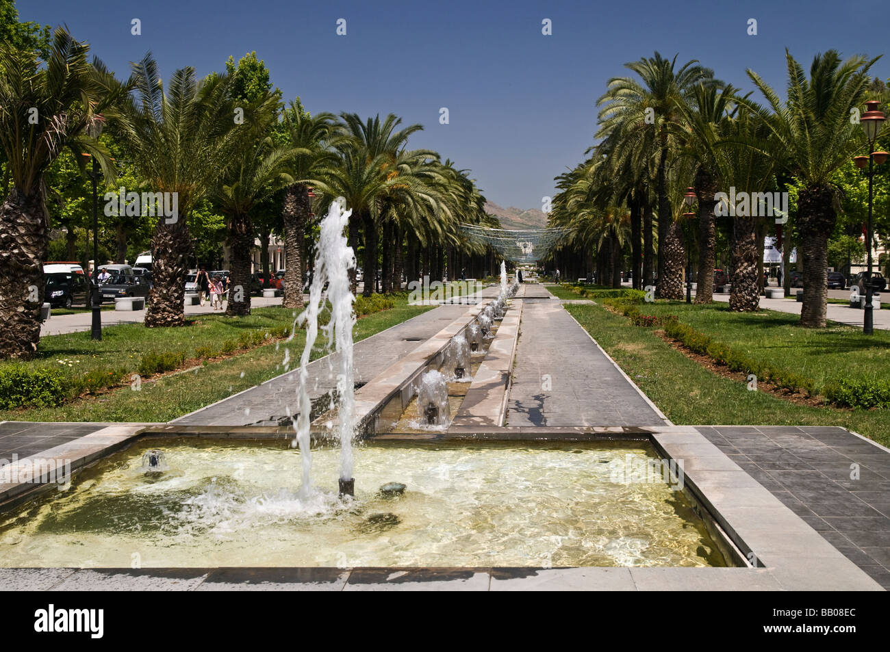 Rows of fountains and small rill in the central boulevard, Ville Nouvelle, New Town, Fes, Morocco. - Stock Image