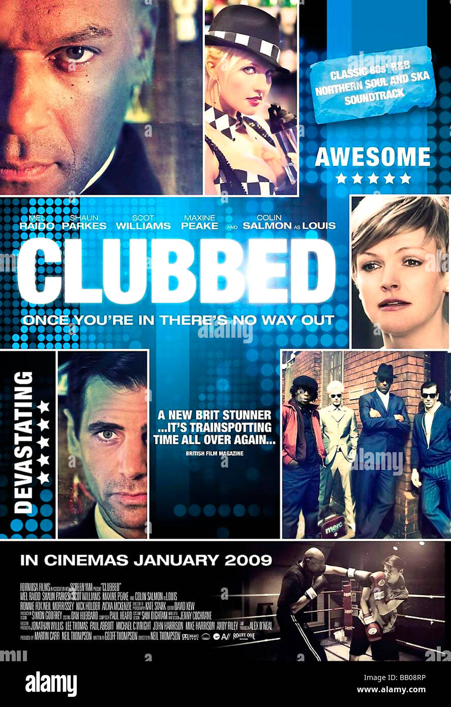 Clubbed Year : 2009 Director : Neil Thompson Movie poster (UK) - Stock Image