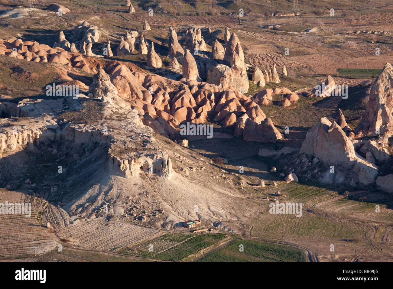 Rugged terrain and fairy chimneys at Cappadocia Turkey - Stock Image
