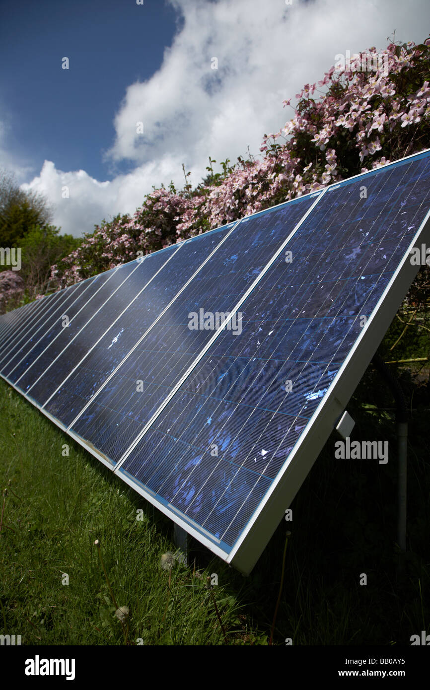sun shining down on an array of blue tinted polycrystalline silicon photovoltaic solar panels in county tyrone northern - Stock Image
