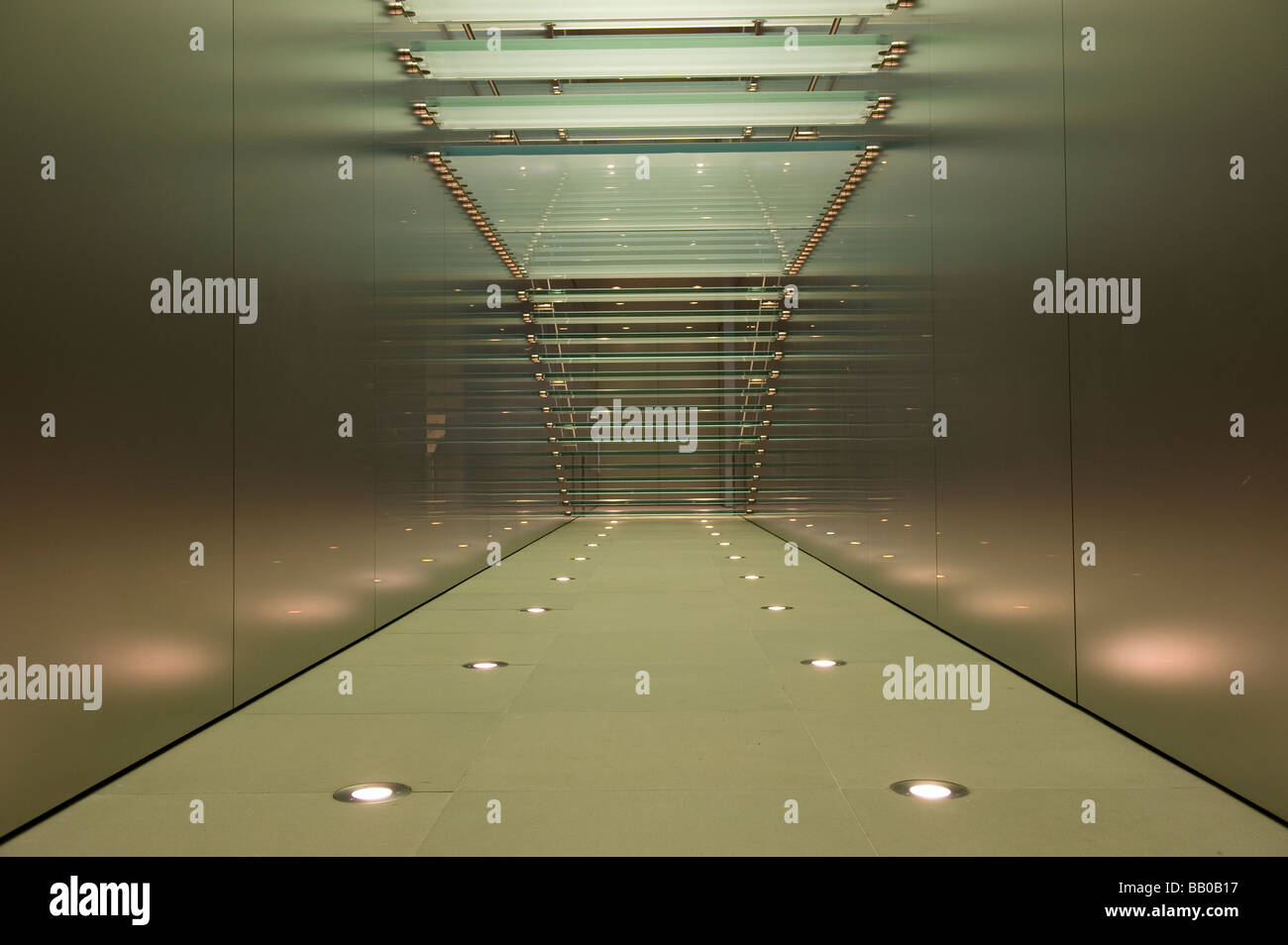 Glass Staircase in the Apple Store, Sydney, Australia. Stock Photo