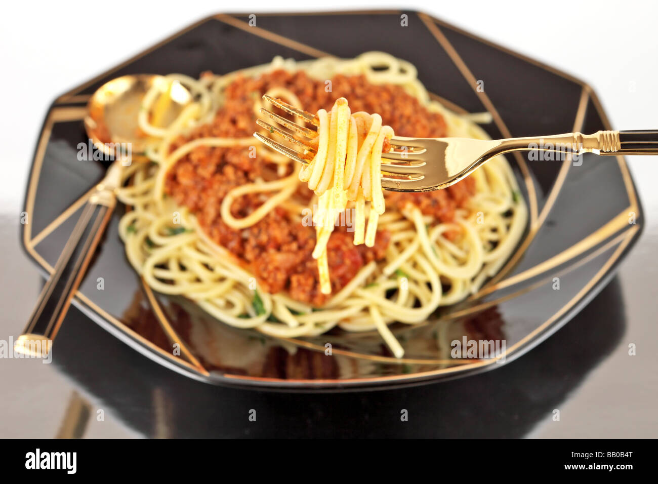 Meal of spaghetti bolognese european tradition - Stock Image