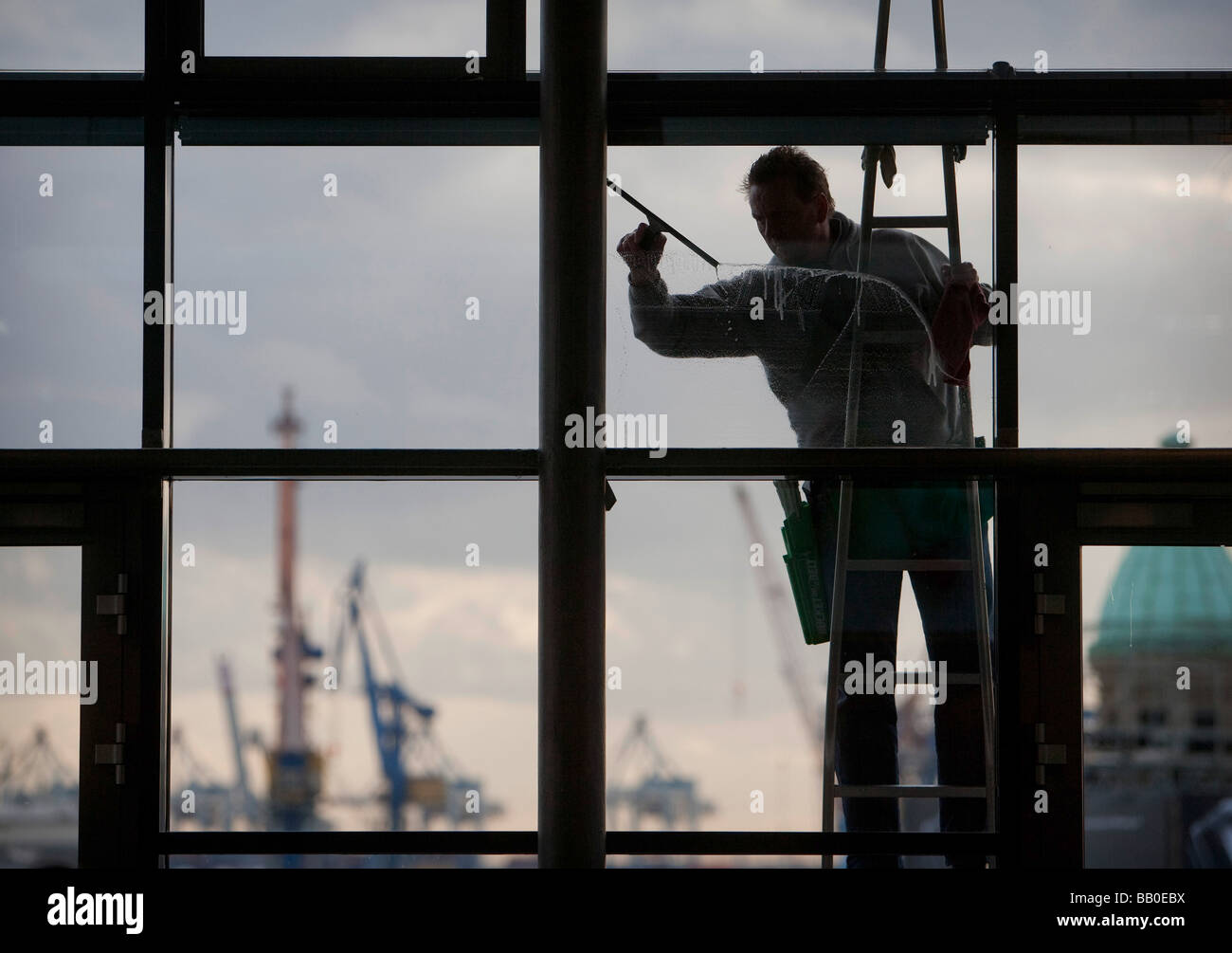Window cleaner Hamburg - Stock Image