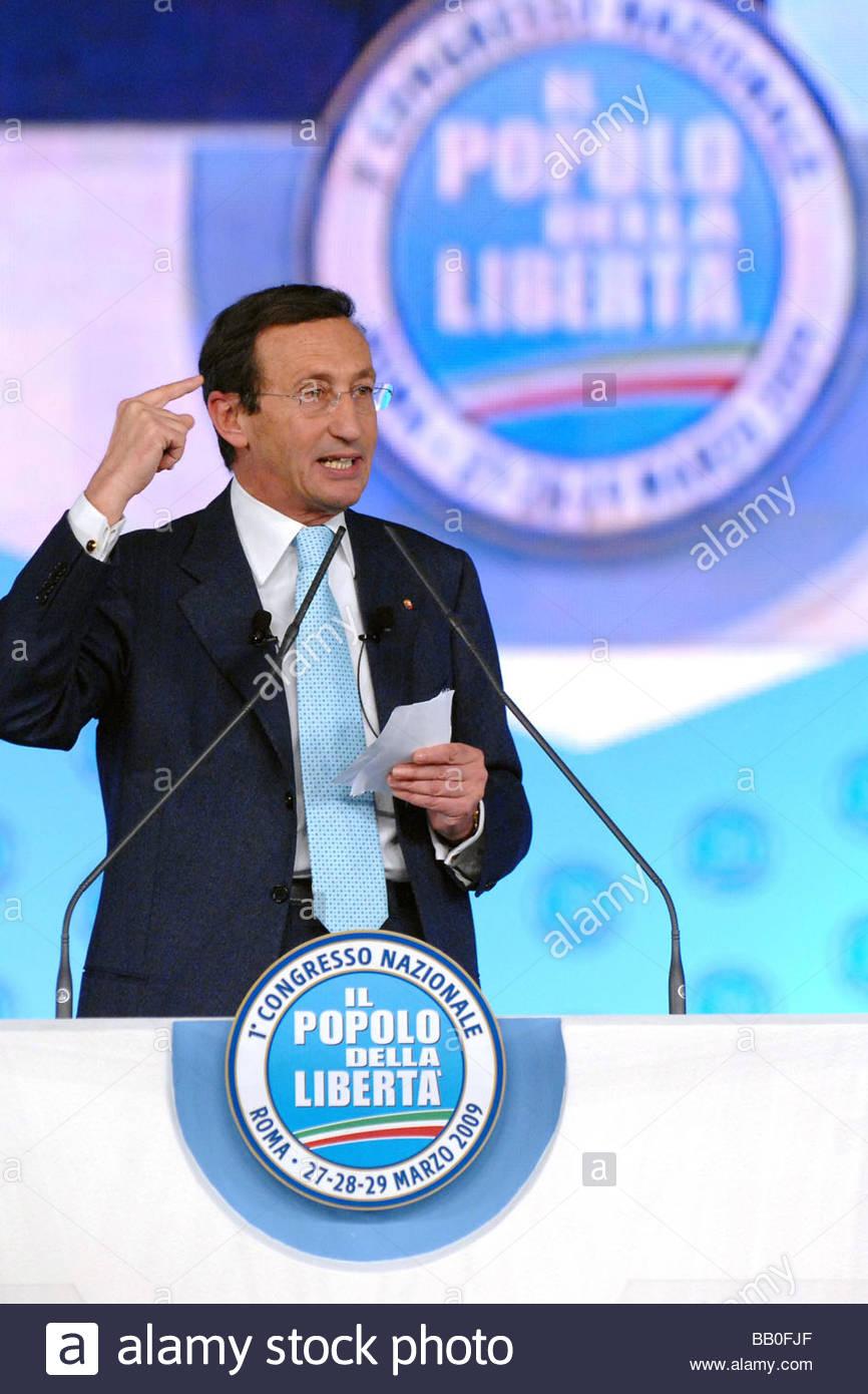 gianfranco fini,roma 2009,first popolo della libertà party meeting - Stock Image