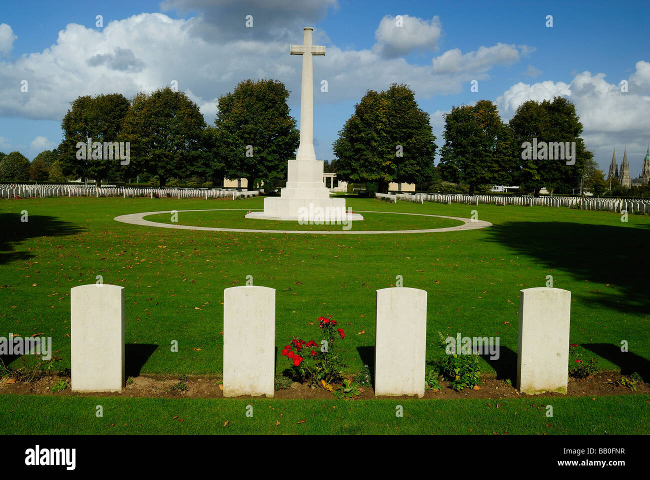 British cemetery of second world war in Bayeux, Normandy Stock Photo