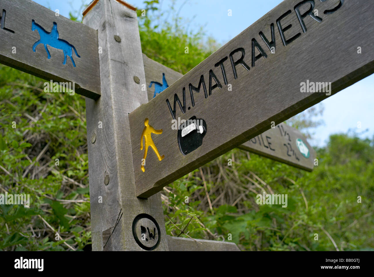 Signpost for public footpath, UK - Stock Image
