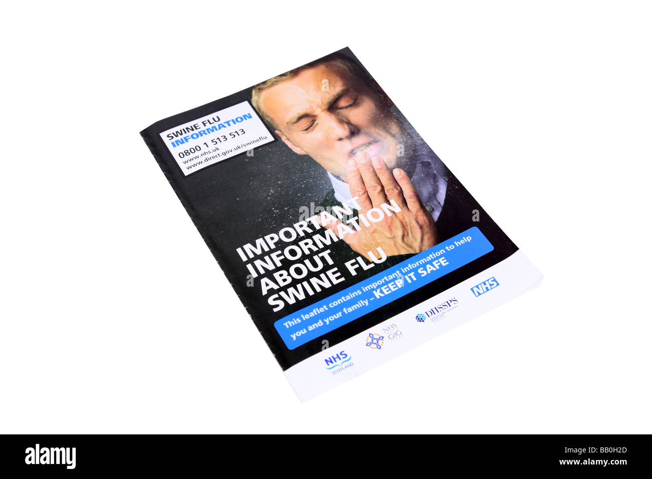 Information Pamflet on Swine Flu sent out by the British Government - Stock Image