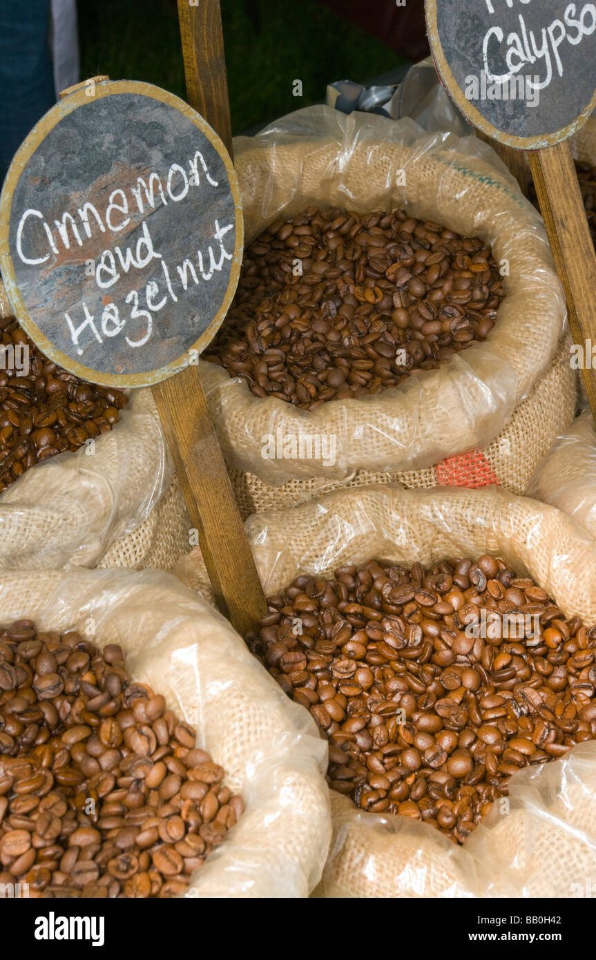 Bags Sacks Of Flavoured Coffee Beans - Stock Image