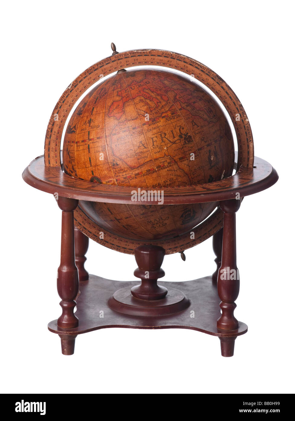 Vintage old earth globe showing Africa - Stock Image