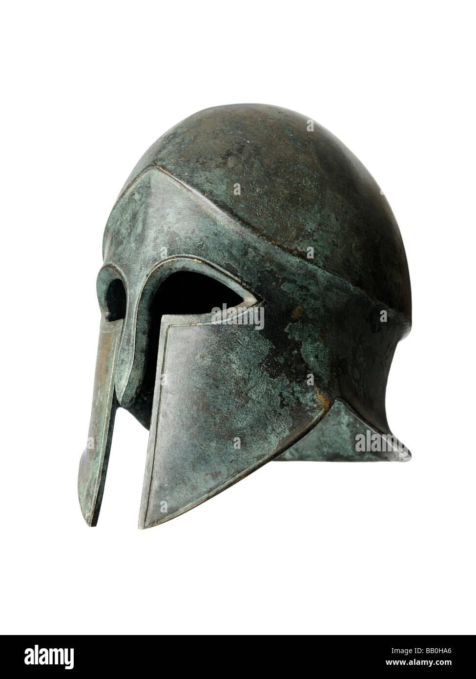 Bronze sculpture helmet visor - Stock Image